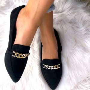Soda Miles Black Gold Chain Comfort Flat Loafer